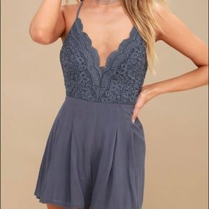 Lulus Star Spangled Blue Backless Lace Romper